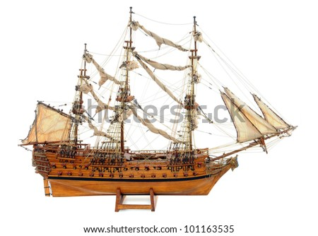 Historic sailing ship as wooden model (handicarft, no industrial product, no copyright)
