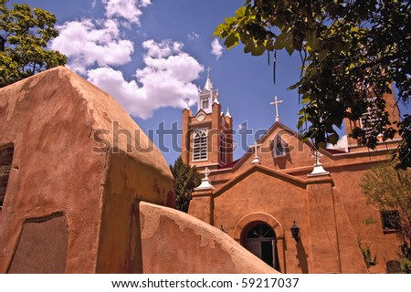 Historic San Felipe de Neri Church in Albuquerque - stock photo