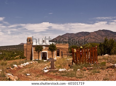Historic San Francisco Church from Golden, New Mexico, a ghost town outside of Albuquerque - stock photo
