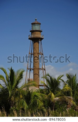 Historic Sanibel Island Lighthouse in South Florida - stock photo