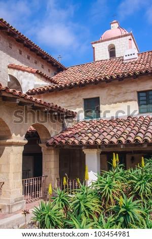 Historic Santa Barbara Mission building - stock photo