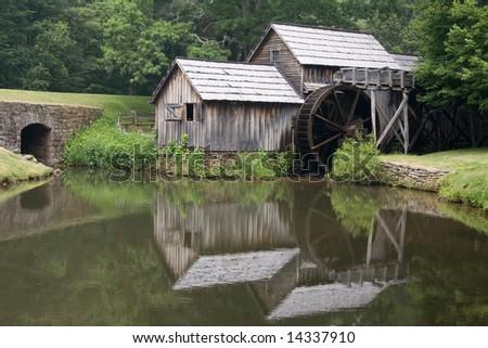 Historic sawmill on Blue Ridge Parkway - stock photo