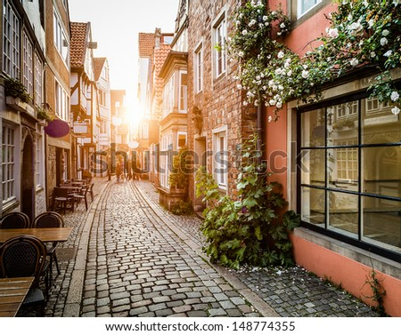 Historic Schnoorviertel at sunset in Bremen, Germany - stock photo