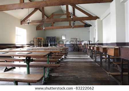 Historic school classroom from the late 19th century - stock photo