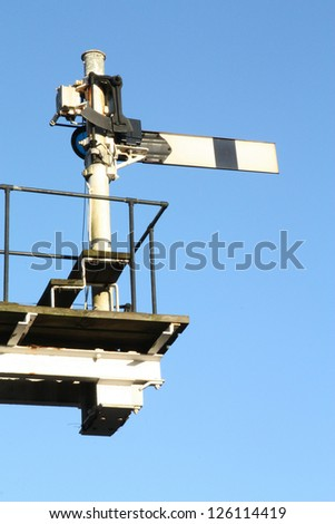 Historic semaphore railway signal. - stock photo