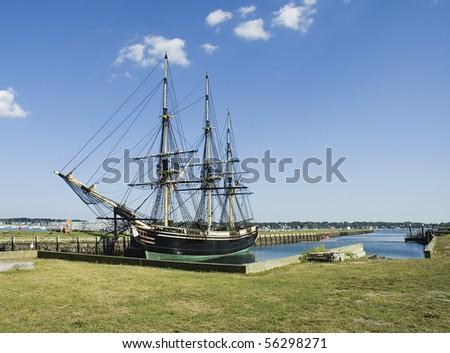 Historic ship named Three-masted Friendship anchored  in Salem harbor, Mass - stock photo