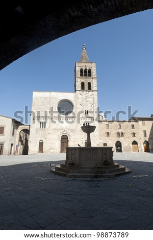 Historic Silvestri square in Bevagna (Perugia, Umbria, Italy), with church and fountain