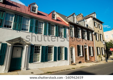 Historic southern french style architecture in Charleston, South Carolina. - stock photo