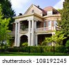 Historic Southern house with Greek revival architecture - stock photo