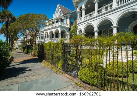 Historic southern style homes in Charleston, South Carolina. - stock photo