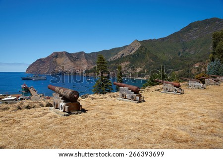 Historic Spanish fort overlooking Cumberland Bay and the town of San Juan Bautista on Robinson Crusoe Island, one of three main islands in the Juan Fernandez Islands 400 miles off the coast of Chile - stock photo