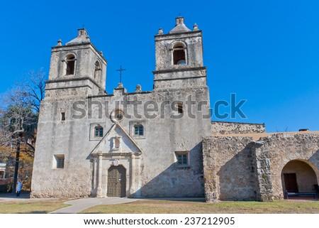 Historic Spanish Mission Concepcion in San Antonio, Texas - stock photo