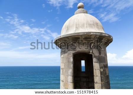 Historic Spanish watchtower overlooking San Juan Bay in Puerto Rico - stock photo