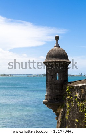 Historic Spanish watchtower overlooking San Juan Bay in Puerto Rico - stock photo