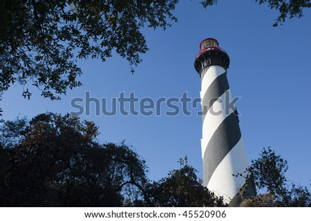 Historic St Augustine Florida lighthouse building - stock photo