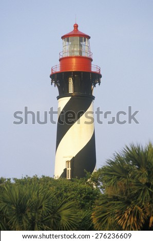 Historic St. Augustine Lighthouse in St. Augustine, FL - stock photo