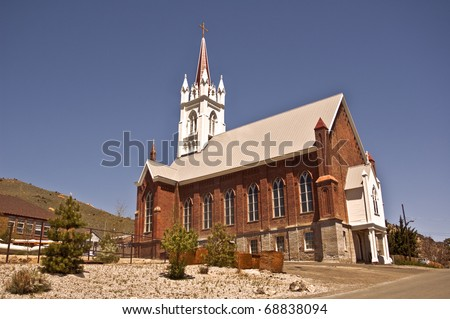 Historic St. Mary's in the Mountains Catholic Church in Virginia City.  This old western church is the first Catholic Church in Nevada