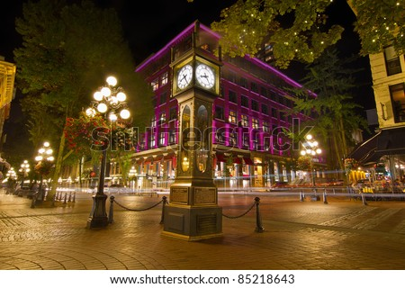 Historic Steam Clock in Gastown Vancouver British Columbia Canada at Night - stock photo