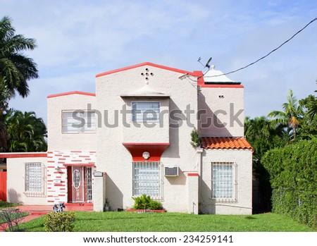 Historic 2 story Miami Beach house - stock photo