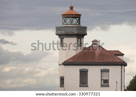 Historic Structure Outdoor Railing Lighthouse Tower Nautical Beacon - stock photo
