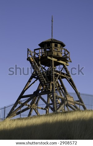 Historic, sunlit Fire Tower built in 1864 in Helena, Montana...also known as Guardian of the Gulch - stock photo