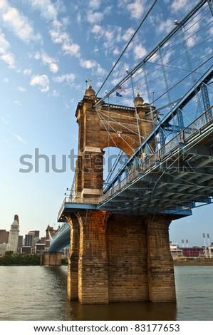 Historic suspension bridge in Cincinnati, Ohio, USA. - stock photo