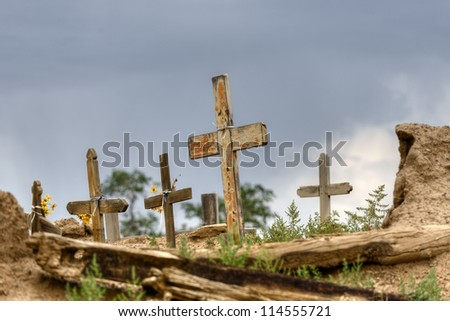 Historic Taos pueblo cemetery, New Mexico. - stock photo