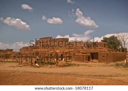 Historic Taos Pueblo- North Pueblo - This is the oldest continuous inhabited city in the United States - stock photo