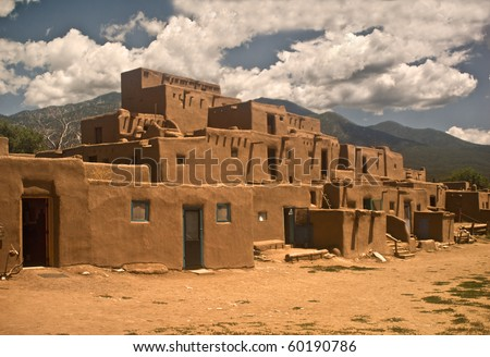 Historic Taos Pueblo- North Section.  This is the oldest city in the United States - stock photo
