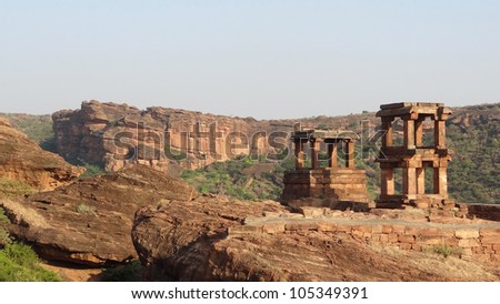 historic temple artefacts near Badami in India