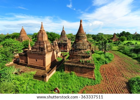 Historic temples in Bagan, ancient city of Myanmar