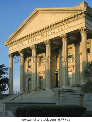 Historic 19th century United States Custom House in Charleston, South Carolina; built 1853 to 1879 - stock photo
