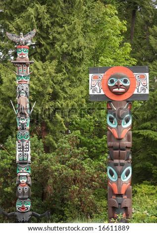 Historic Totem Poles - stock photo