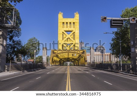 Historic Tower bridge leading towards the state capitol in Sacramento, California.  - stock photo