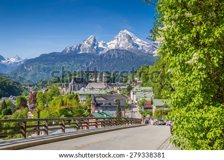 Historic town of Berchtesgaden with famous Watzmann mountain in the background on a sunny day in springtime, Nationalpark Berchtesgadener Land, Upper Bavaria, Germany - stock photo
