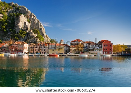 historic town omis, croatia - stock photo