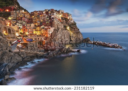 Historic town on the Mediterranean coast - stock photo