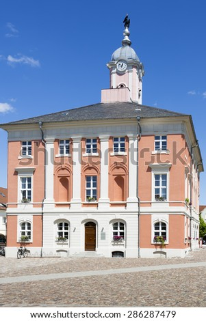 Historic townhall of Templin, East Germany - stock photo