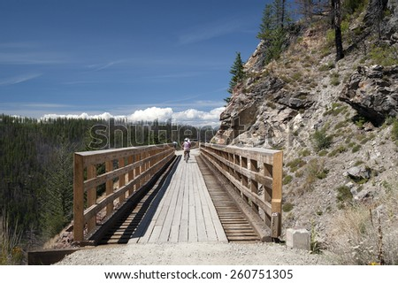 Historic trestles by Kelowna, British Columbia, Canada - stock photo