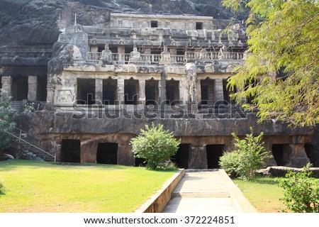 Historic Undavalli caves near Vijayawada city in India - stock photo