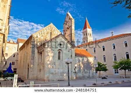 Historic UNESCO town of Trogir square and cathedral view, Dalmatia, Croatia - stock photo