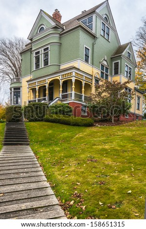 Historic Victorian House. Vertical. Copy space. - stock photo