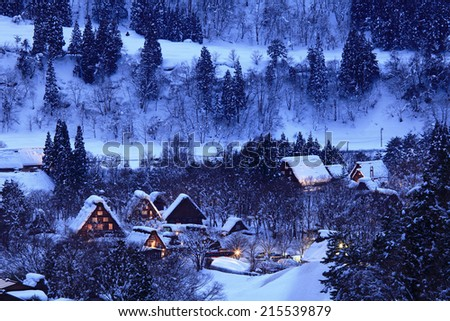 Historic Villages of Shirakawa-go and Gokayama, view of the sunset, Japan - stock photo