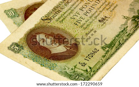 historic vintage Union of Colonial South Africa Bank Five and ten pound bank notes - stock photo