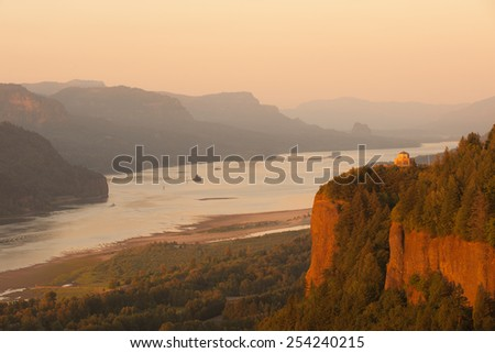 Historic Vista house observatory in Columbia River Gorge, Oregon - stock photo