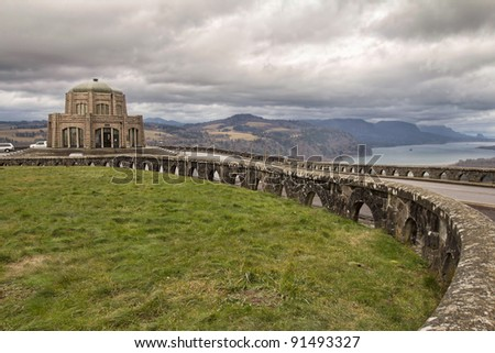 Historic Vista House on Crown Point on Columbia River Gorge in Oregon
