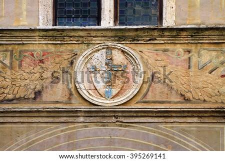 Historic wall in Pienza, Italy - stock photo