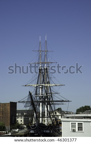 historic war ship USS Constitution, nicknamed Old Ironsides, built in 1797, in exhibition Boston, Mass - stock photo
