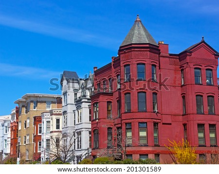 Historic Washington DC row houses in spring. Row houses behind US Capitol. - stock photo