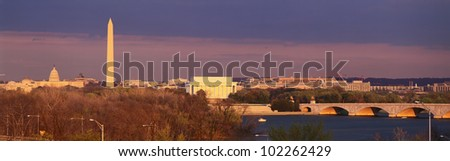 Historic Washington DC skyline at dusk - stock photo